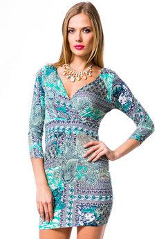 Бирюзовое платье с рукавом Mondigo