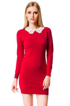 Красное платье с белым воротником Mondigo