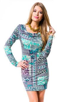 Сине-бирюзовое платье Mondigo