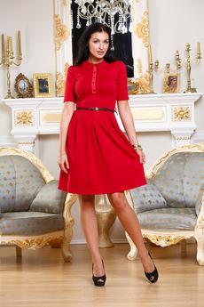 Красное платье с воротником Angela Ricci