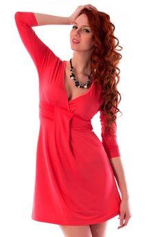 Коралловое платье с рукавами Mondigo