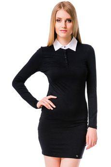 Черное платье с воротничком в школьном стиле Mondigo