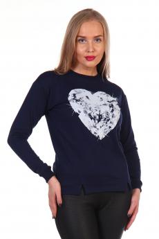 Темно-синий свитшот с сердцем Грация
