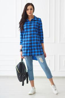 Женская синяя туника рубашка в клетку Шарлиз