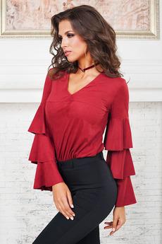 Красная блуза с воланами Angela Ricci