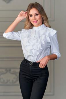 Новинка: блуза цвет белый с рюшей б149 белый Look Russian